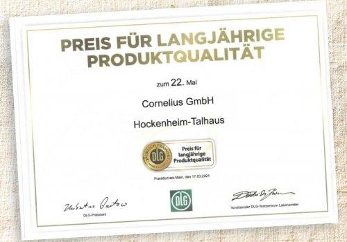 Auszeichnung für CORNELIUS Wurstwaren 2021