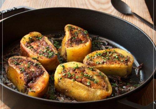 Kartoffelrolle mit Apfel- Bio Pfälzer Leberwurst–Füllung
